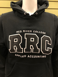 HOODIE UX APPLIED ACCOUNTING BLK RRC w/  WHITE STITCHING