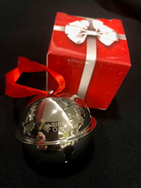 ORNAMENT JINGLE BELL w/ RED RIBBON & GIFT BOX