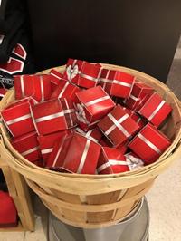ORNAMENT JINGLE BELL w/ RED RIBBON & GIFT BOX