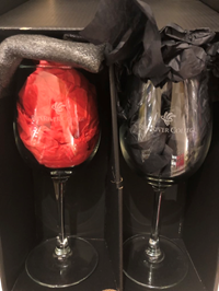 WINE GLASS R R C  CONNOISSEUR SET OF TWO DEEP ETCHED